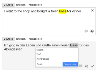 Incorrect translations of <i>bass</i> proposed by a statistical machine translation system.